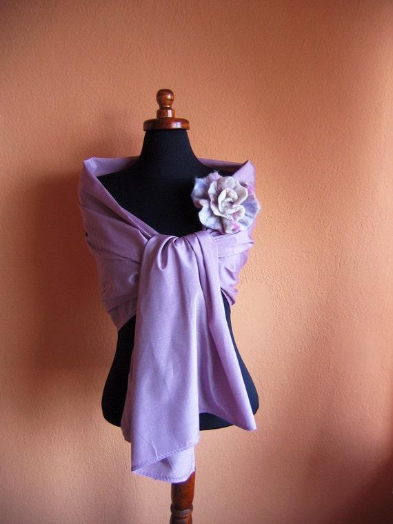 Lilac silk scarf Silk cotton Scarf / Shawl in  light Pastel Lilac /Magenta Wrap,   gift/Lavender / Purple Fantasy