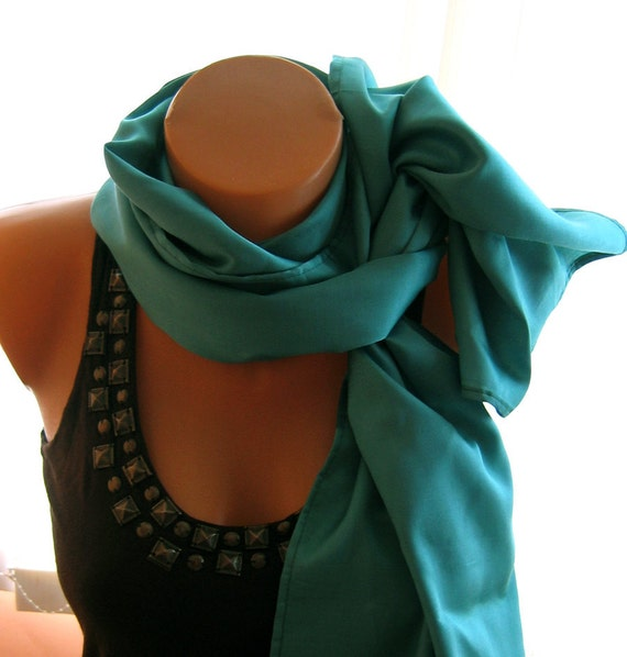 Beautiful Victorian Elegant and retro handmade in Cotton Satin in Jade ,Tropical rain forest color ...Scarf ....Shawl