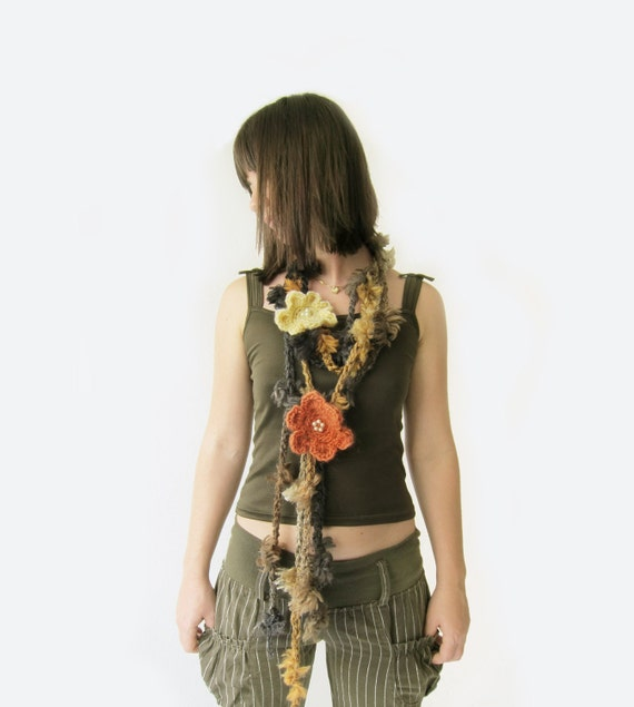 Crochet  Scarves Necklaces - 2 pcs - Discounted Price in Chocolate beige grey with two  flowers brooch