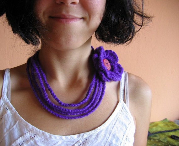 Violet....Lilac Gentle Crochet Necklace with Flower and button
