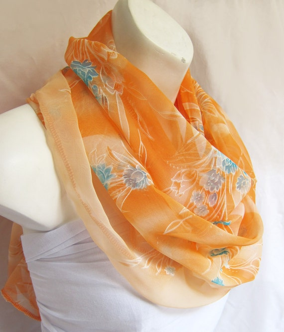 Pastel Peach with Mint  Roses..a Sari Scarf.. Extra Long