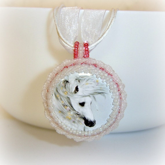 Horse necklace pendant- frosted white and pink Romantic Equine jewelry