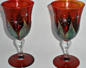 Matching Pair of Hand Painted Rich Red Goblets - Green glittered leaves, Painted stars Swarovski Crystals - Festive wine glasses