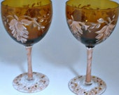 Hand painted Dessert Wine or Margarita Glasses - Romantic freehand painted leaves - Color coordinated stem and base - Swarovski Crystals