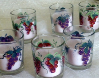Hand painted set of three small candle votives - purple or cranberry grapes trimmed in gold - mix or match