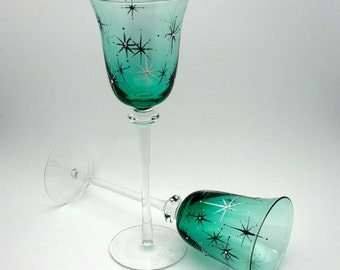 Ombre Hand Painted Pair of Long Stemmed Turquoise Wine Glasses - Multiple sizes of  black and white stars - Swarovski Crystal Centers