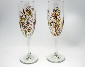 One Hand painted abstract champagne glass flute - scroll vine and dot design