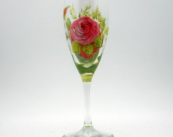 One hand painted Wild Rose champagne flute - Romantic Pinkish Red Roses - Different painted rose on each side - Quality Crystal Lead-free