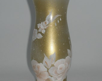 Romantic antique hand painted floral glass vase - vine of delicate, soft light peach roses and buds - Aged antique faded gold crackle look