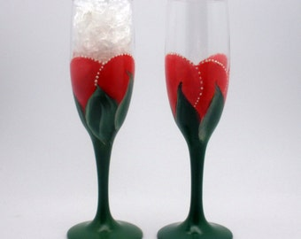 Freehand painted champagne flutes - pair of dark pink red rose buds - hunter green stems - wedding or anniversary flutes - simple beauty