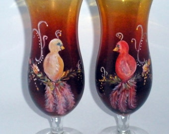To all bird lovers - Hand painted male and female Partridges - LePlume swinging love birds - French Scene - Ombre glass - Fancy fluffy tails