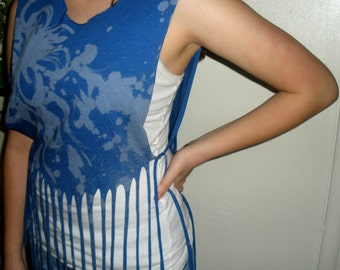 Hand Painted Tie dyed Fringed T shirt Shawl