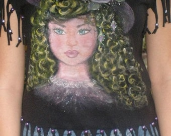 hand-painted young girl - black hand cut fringed tee - Age of Innocence
