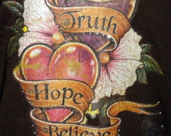 Inspirational Tee -Tattoo inspired double heart liquid skin - Earthy studded heart banner - Words - Truth, Hope, Believe - Size M