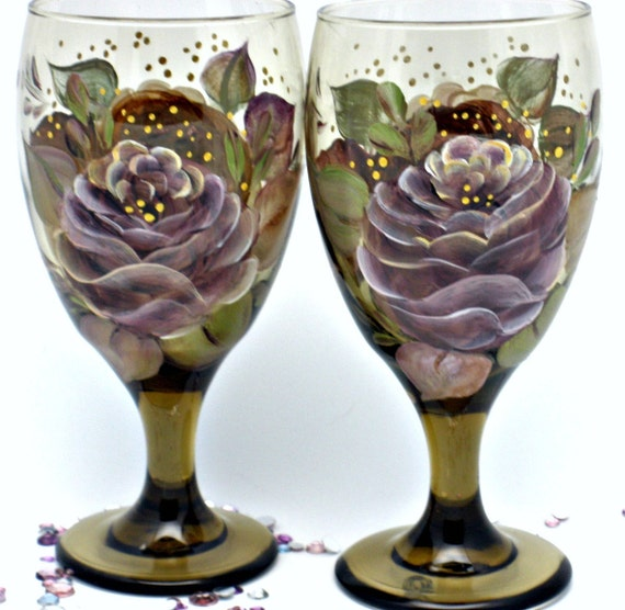 Bit of Italy hand painted olive glasses with earthy roses - Freehand Design on Libbey Glasses - Tea Water or Wine Decorative Glasses