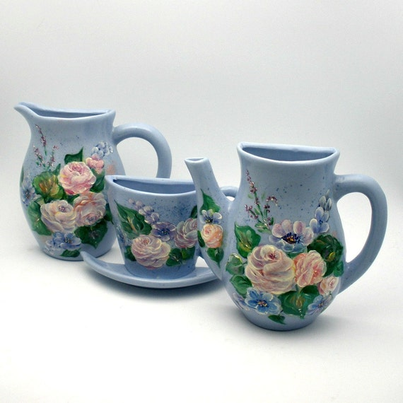 Hand painted Ceramic Wall Pocket Set of Three - Matching half Cup, Pitcher and Creamer - Old Fashion Pink Roses in an Oil Painted Look