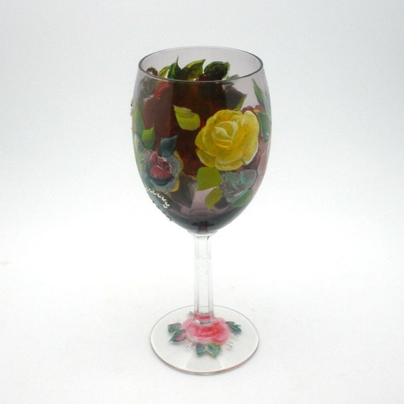 Hand painted Crystal Wine Glass - Garden of painted yellow pink red and purple roses - Unique freehand design - Romantic wine accessory