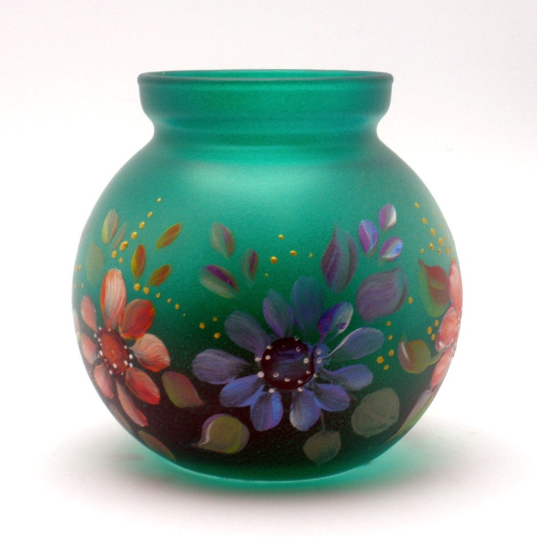 hand painted glass vase or votive ooak colorful daisies. Black Bedroom Furniture Sets. Home Design Ideas