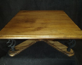 Custom Made Square Top Cake Stand with Black Wrought Iron Spiral Legs. Rustic Mexican Furniture Inspired