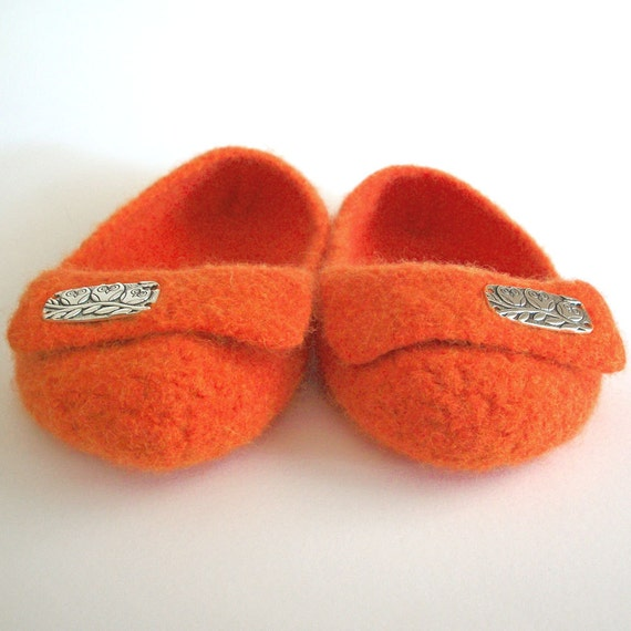 The Ade - Wool Felted Slippers - Any Color / Any Size / Flap / Button / Embellishment / Made To Order / Custom Order