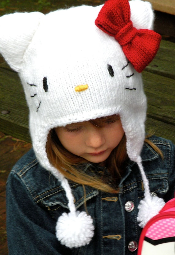 Knitting Pattern For Hello Kitty Hat : Etsy - Your place to buy and sell all things handmade, vintage, and supplies