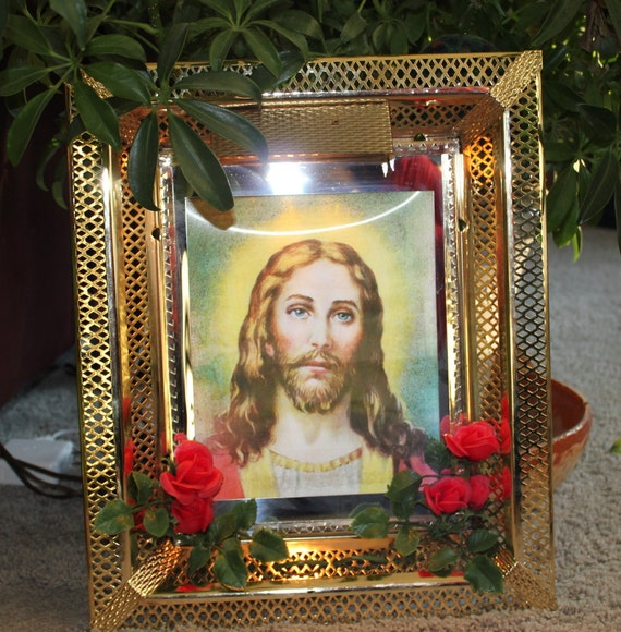 Sale Jesus Last Supper Holographic Lighted Metal Frame Wall