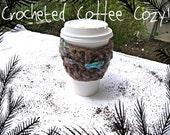 WINTER SALE - Hand Crocheted Coffee Tea Cozy in Warm Hearts