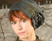 SH79 - G-Force / Reconstructed Military Surplus/ Men's or Women's Gray Wool  Slouch Army  Winter Hat