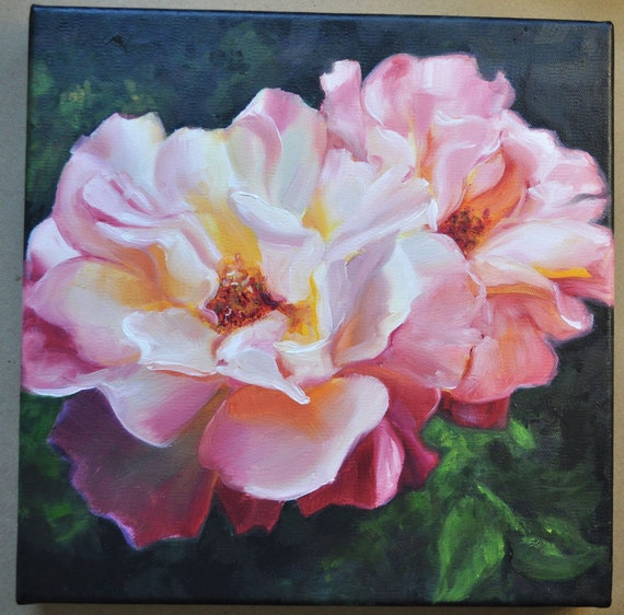 Two Roses Original Oil Painting 10x10