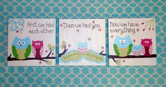 """Owls """"First we had each other"""" - custom set of THREE 10""""x10"""" paintings"""