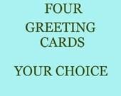 Blank Handmade Photo Greeting Card Set of 4  - Your Choice