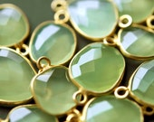 Apple Green Chalcedony Faceted Gemstone Vermeil Connector 22x12mm
