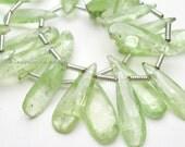 RARE Light Green Kyanite Smooth Long Pear Briolette 17 x 5mm -1/2 STRAND