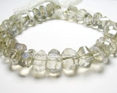 Smokey Gray Mystic Coated Natural Crystal Quartz Faceted Nuggets 12 x 11 to 14 x 12mm -1/2 Strand