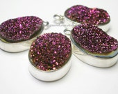Sparkly Fuchsia Red Druzy Oval Pendant with Sterling Silver Bezel 23x14x6mm - 1pc, 925 Luxe