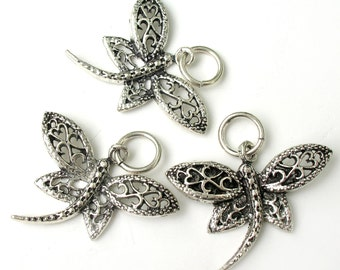 Sterling Silver Dragonfly Charm with Jump Ring 12x12mm