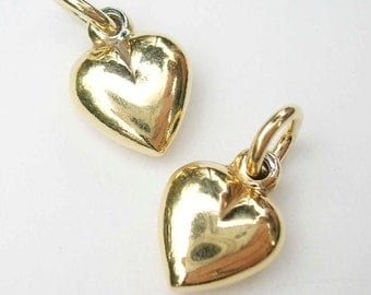 One Gold Vermeil Heart Charm with Jump Ring 11 x 8mm