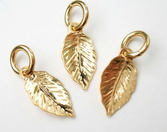 One Tiny Gold Vermeil Leaf Charm with Jump Ring 8 x 5mm