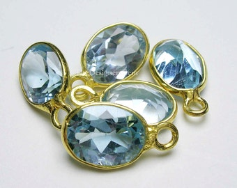 Aquamarine Blue Quartz Oval Vermeil Pendant 11x6mm - ONE Piece