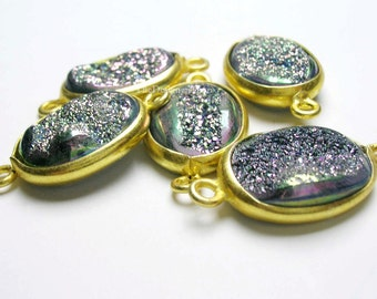 Green Titanium Druzy Vermeil Connector 22x12mm