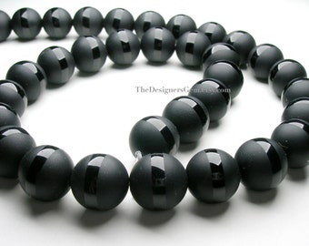 Black Matte Polished with Polished Stipe Black Onyx Smooth Rounds 12mm -1/2 STRAND