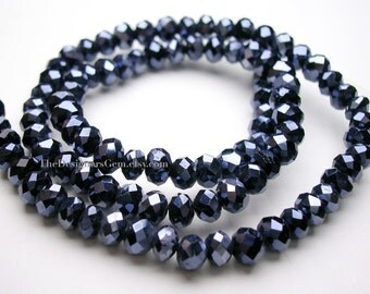 Diamond Coated Black Chinese Crystal Faceted Rondelles 4mm - 1/2 Strand