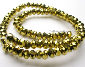 Metallic Bright Gold Chinese Crystal Faceted Rondelles 4mm - 1/2 Strand