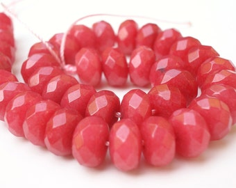Dyed Red Jade Large Faceted Rondelle 8mm - 1/2 STRAND