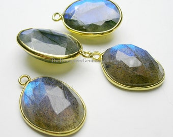 Finest Extreme Blue Flash Labradorite Oval Vermeil Pendant 21x14mm
