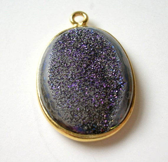 OUTRAGEOUS Purple Druzy Oval Vermeil Pendant 25x17x5mm