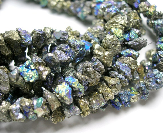 Aurora Borealis Coated Mystic Pyrite Rough Nuggets 5 to 7mm - 1/2 Strand