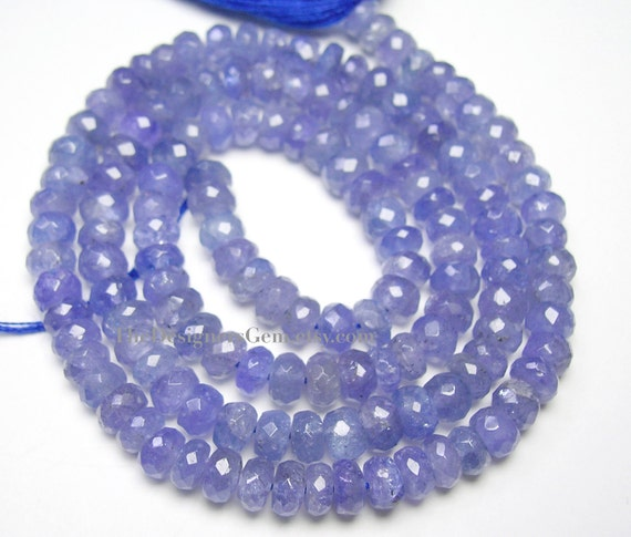 Faceted Rondelle Tanzanite: Purple Periwinkle Blue Tanzanite Micro Faceted By