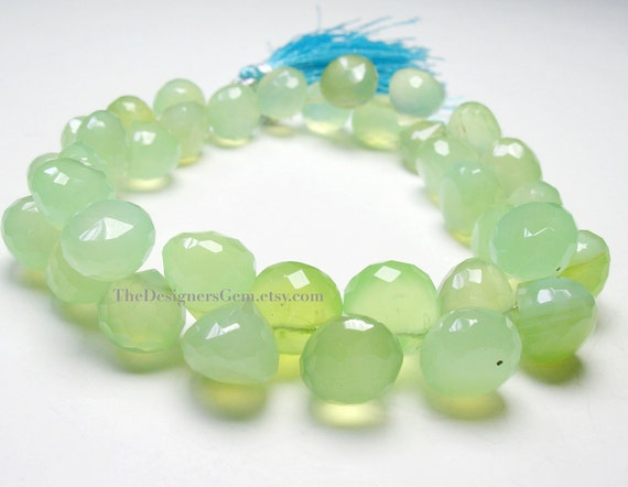 Beautiful Large Apple Green Chalcedony Onion Shape Faceted Briolettes 10 to 11mm - 1/2 STRAND