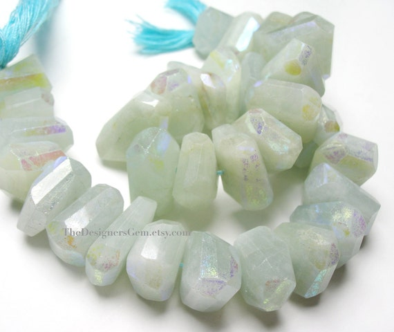 Beautiful Pale Blue AB Aquamarine Faceted Nuggets 12 x 10mm to 17 x 11mm - 1/2 Strand